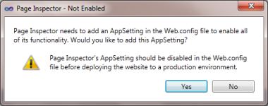 Popup asking for Page Inspector setting