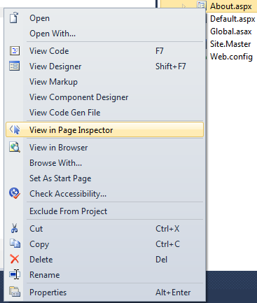 How to view a page in Page Inspector
