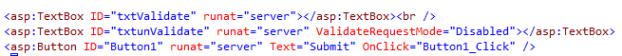 Sample aspx code