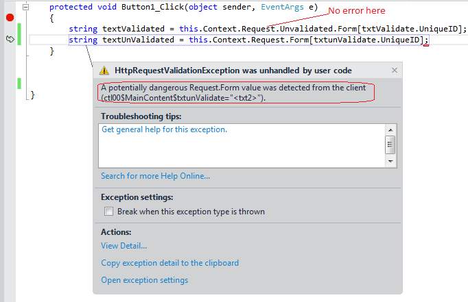 Exception using debugger