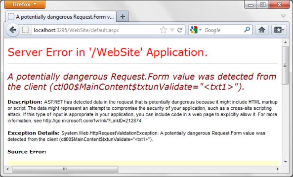 Request Validation error