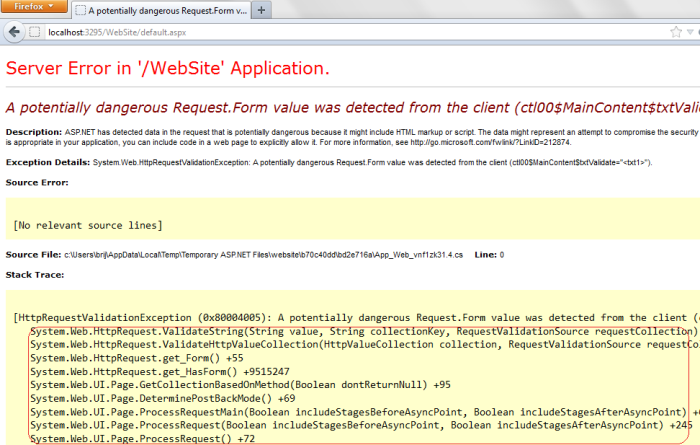 Validation exception in earlier versions of ASP.NET