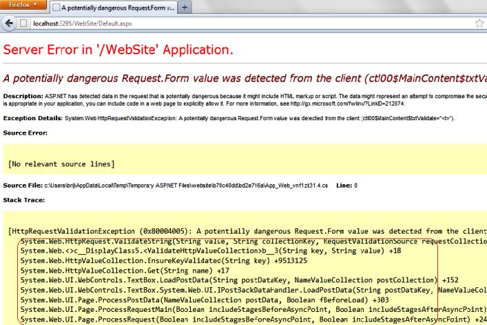Validation error in ASP.NET 4.5